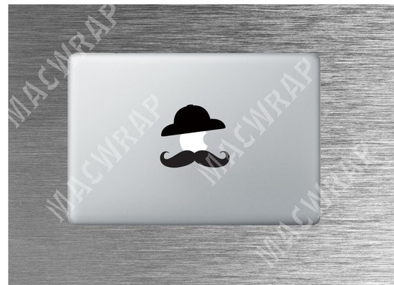 Apple with Mustache in Hat MacBook Decal