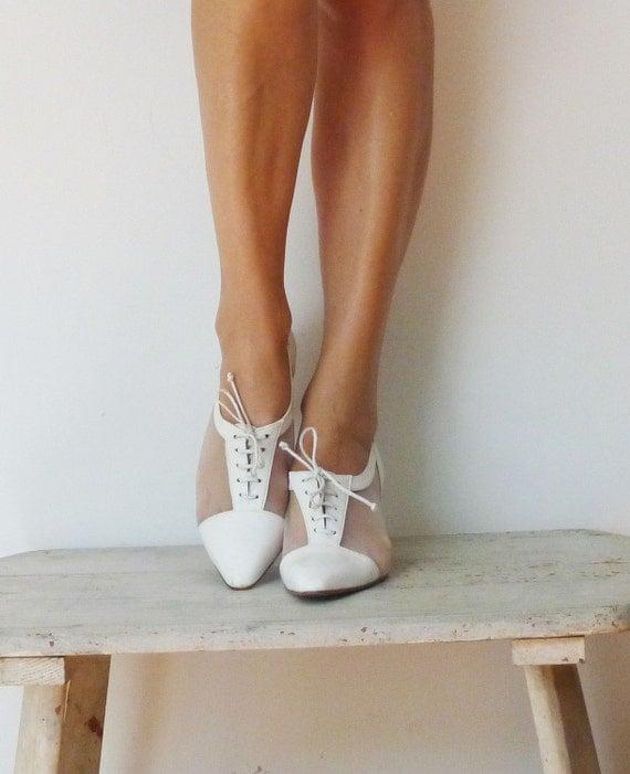 Vintage White Oxford Heels