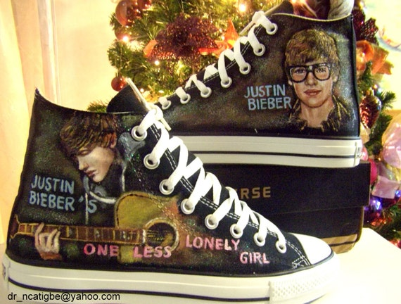 Justin Bieber's One Less Lonely Girl hand painted Converse