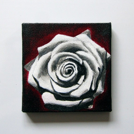 White Rose Mini Painting Refrigerator Art Magnet