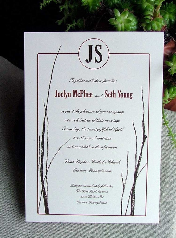bare branches monogramed wedding invitation. sample set.