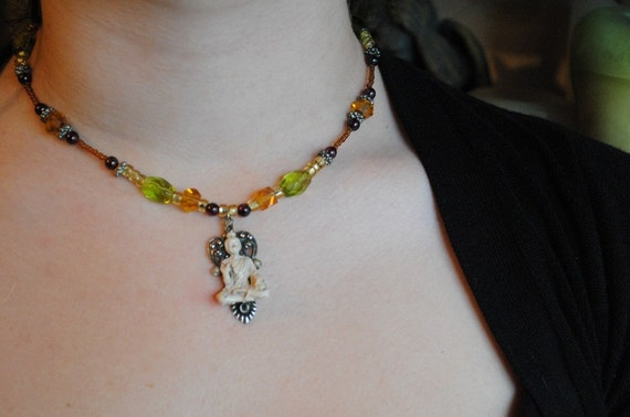 World Traveler Steampunk,Bohemian Buddah Necklace