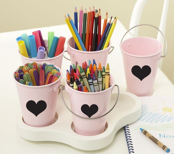 12 Get Organized Heart Chalkboard / Blackboard Labels