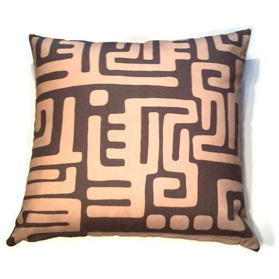 Decorative Pillow Cover 20 x 20 inch - Original Designer Fabric - Throw Pillow, Accent Pillow - Modern African Ethnic Style in Brown, Gold (A10)