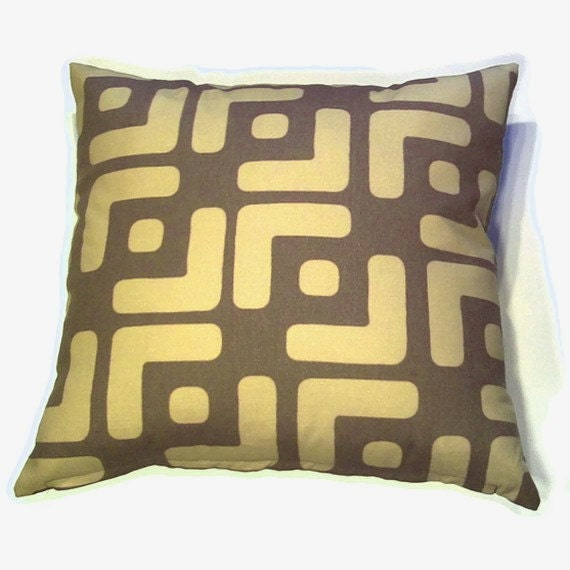 Decorative Pillow Cover 20 x 20 inch - Original Designer Fabric - Throw Pillow, Accent Pillow - Modern African Ethnic Style in Brown, Olive Green  (F10)