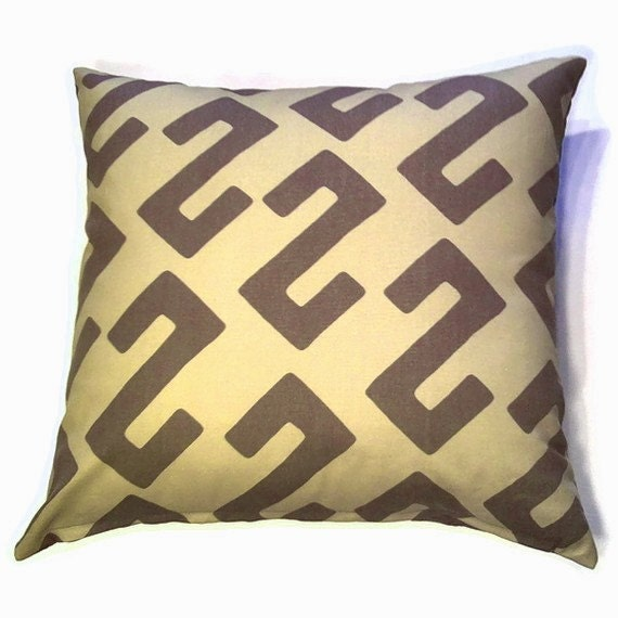 Decorative Pillow Cover 20 x 20 inch - Original Designer Fabric - Throw Pillow, Accent Pillow - Modern African Ethnic Style in Brown, Olive Green  (F12)