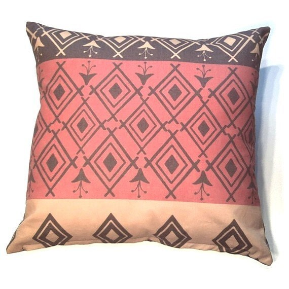 Decorative Pillow Cover 20 x 20 inch - Original Designer Fabric - Throw Pillow, Accent Pillow - Modern Kilim Moroccan Turkish in Brown, Gold, Red  (E14)