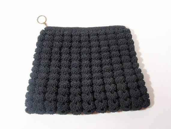 Vintage Talon 1940s Clutch Black Crochet Seashell Pattern
