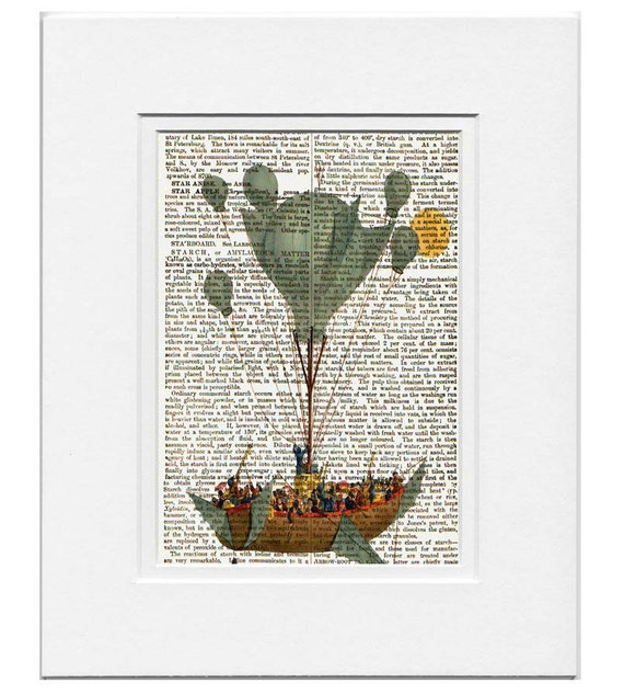 Air BALLOON -ARTWORK  printed on Repurposed Vintage Dictionary page- Free Domestic Shipping