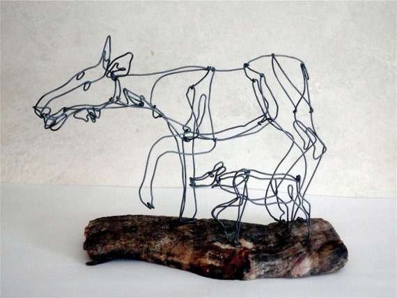 Moose and Calf Wire Sculpture