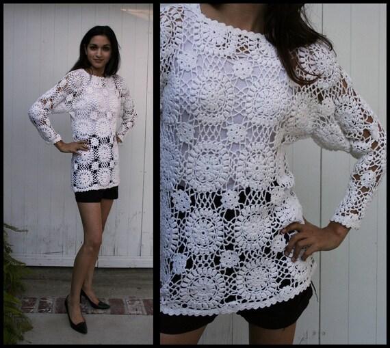 Vtg 90's Crochet Knit Doily Sweater S M