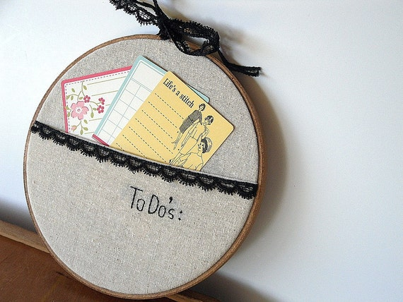 Get Organized Pocket To Do List Upcycled 7 inch Hoop - by TheCareerScrapper on Etsy