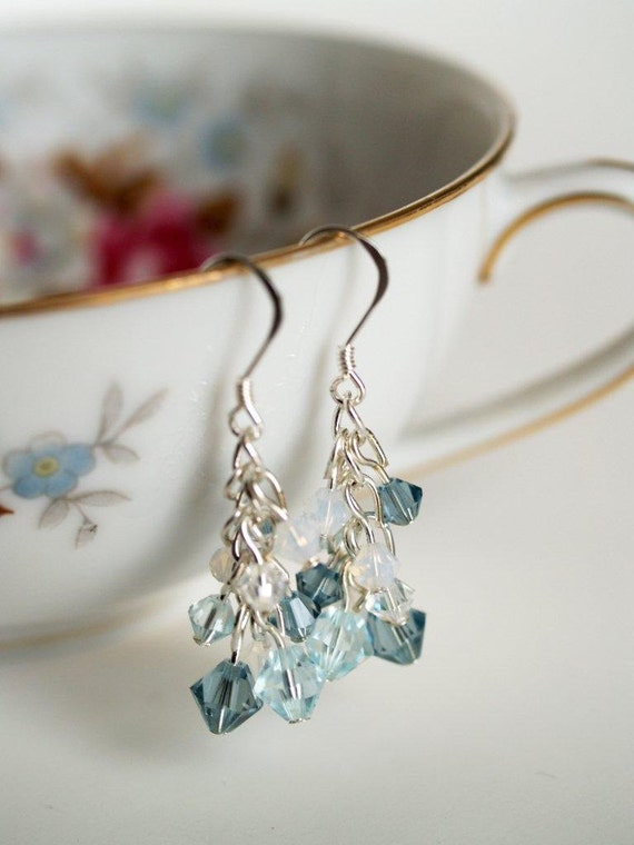 Shades of Blue Crystal Beaded Earrings