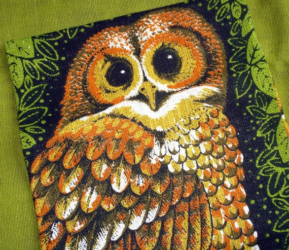 Vintage Linen Tea Towel - Lois Long - OWLS - Unused with Tags