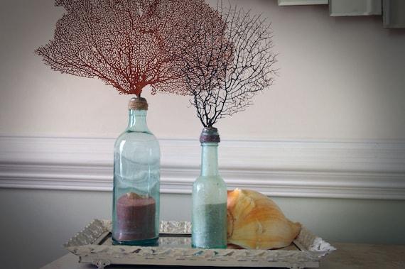 Vintage Aqua Glass Bottle with Red Sea Fan