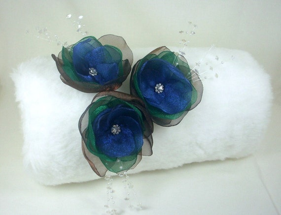 Winter Bliss Faux Fur Bridal Muff with Jewel Toned Flowers