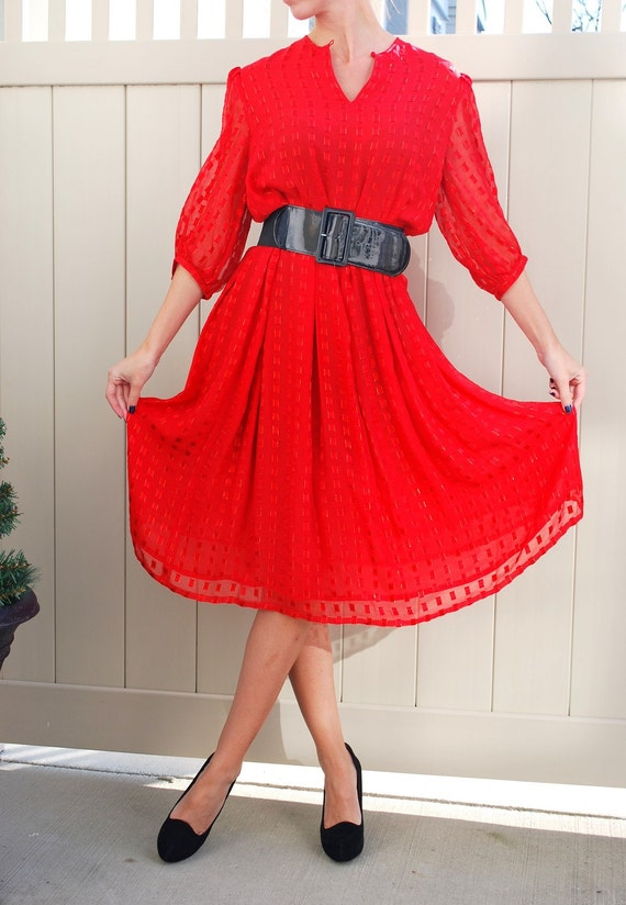 Perfect Little Red Dress with Metallic thread Detail and Flowy Silk layers size medium