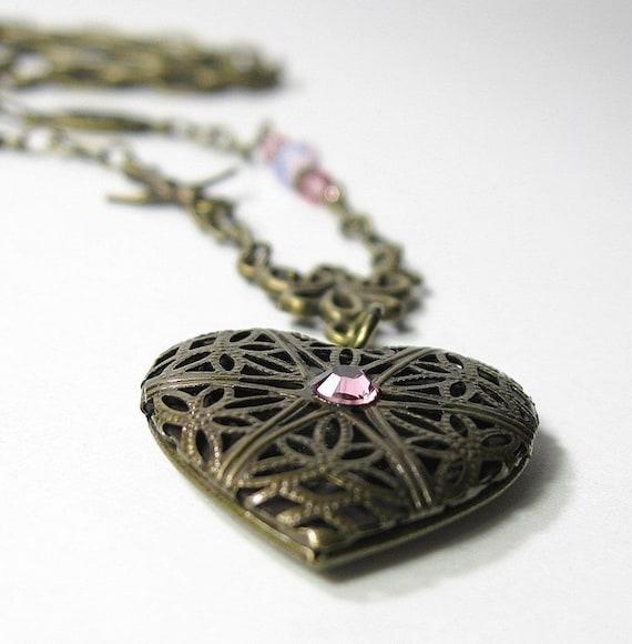 Pink Swarovski Vintage Style Brass Heart Locket Necklace