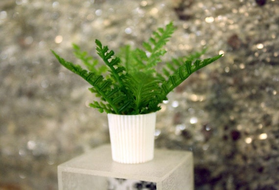 Dollhouse Miniature Potted Fern Plant in One Inch Scale, 1:12