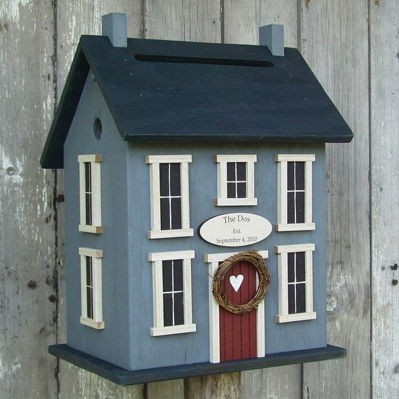Original  -Wedding Card Box Birdhouse  Personalized -  Choose your Colors.