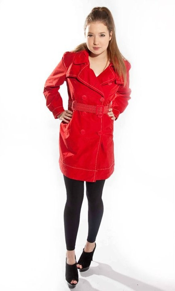 Red in the Rain Vintage Trench Coat