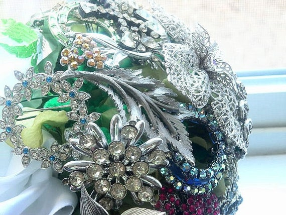 Bridal Vintage Brooch Bouquet One of a Kind by mabellecherie pin crystal