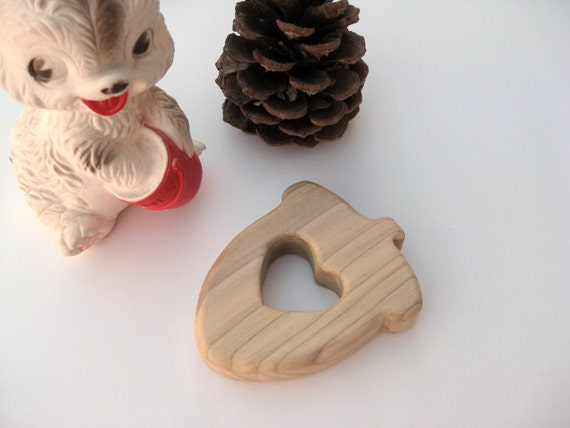 I Heart Acorns Natural Wooden Teething/Clutch