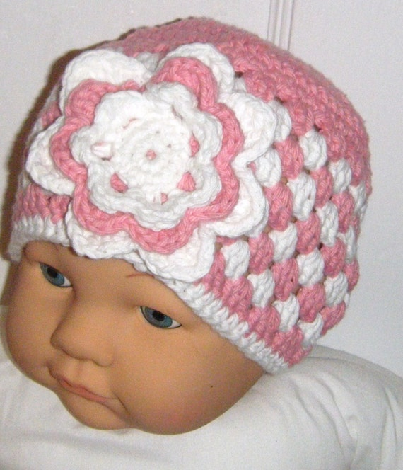 Handmade Crochet Pink Flower Hat in Cotton