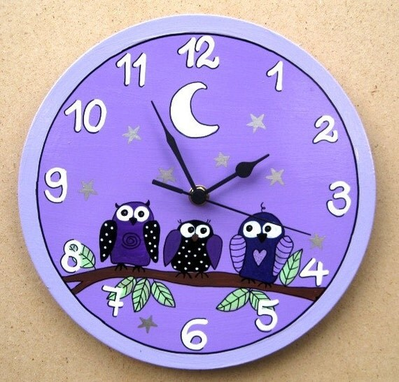 Круглые настенные часы с совами картина