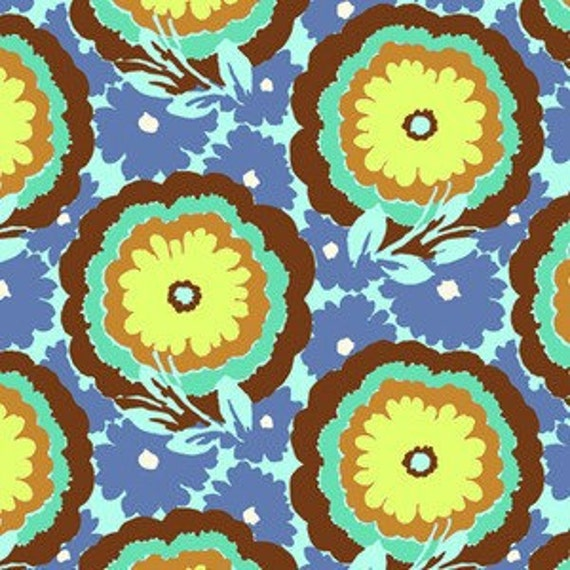 Soul Blossom by Amy Butler, Buttercups in cyan, 1 yard
