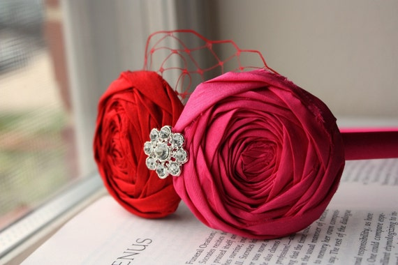 20% OFF My Funny Valentine's Day Rosette Headband Duo with Vintage Jeweled Accent and French Netting - Made to Order for Women and Children
