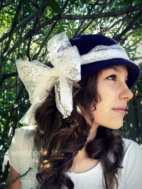 Hand Felted Cloche Hat with Large Lace Bow 100% Wool YOU PICK COLOR
