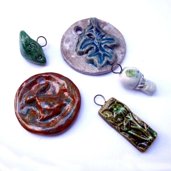 Ceramic Pendants Leaves Rabbit Mushroom Bird Jeraluna