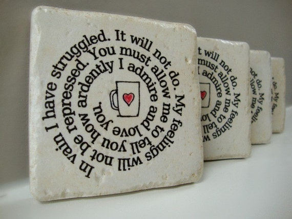 Coffee Cup Confessions Mr. Darcy's proposal to Elizabeth Set of 4 Italian Stone Coasters