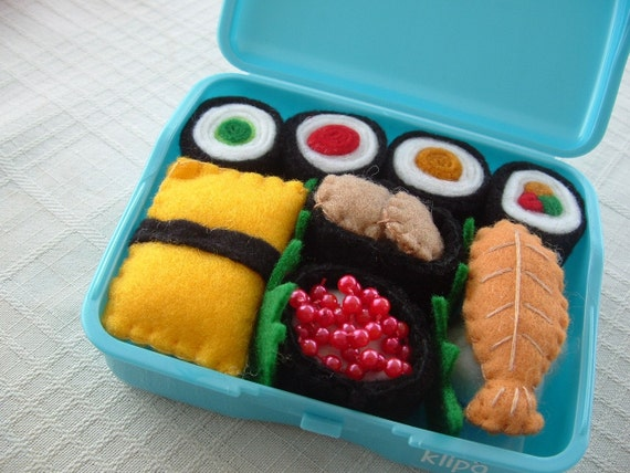 Felt Food - Blue Mini Box of Sushi