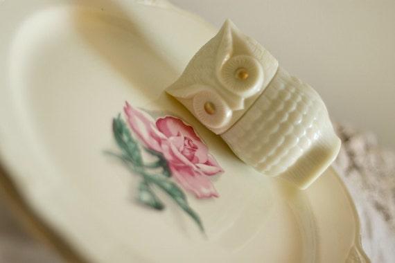 vintage shabby chic Homer Laughlin rhythm rose plates set of 2