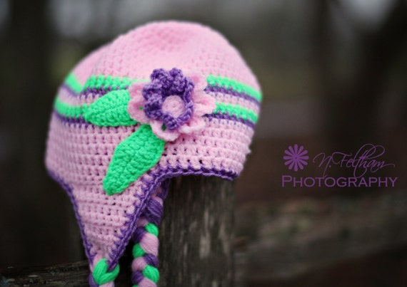 Crochet Pink and Purple  Flower  earflap beanie hat
