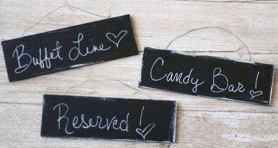 3 Hanging Chalkboard Wedding Signs Photo Props Spring Summer Black and White Damask Elegant Indoor Outdoor Elegance Cottage Woodland Chic
