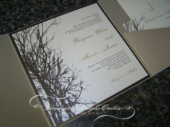 Rayann -Winter Tree-  Pocket Fold Wedding Invitations