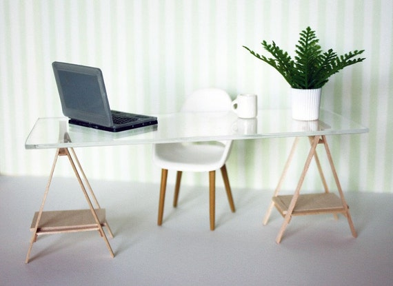 Miniature IKEA Inspired VIKA Desk for 1:12 Scale Modern Dollhouse