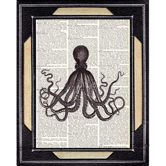 ANTIQUE OCTOPUS art print on recycled vintage dictionary old book text  page, vintage illustration picture, handmade wall decor, vintage print on text page, vintage art on book page, vintage art on text, black and white, octopus 3 unframed print, 8x11