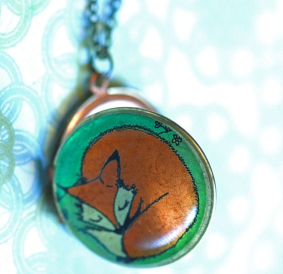 Locket art necklace, Lillebelle the Sleeping Fox