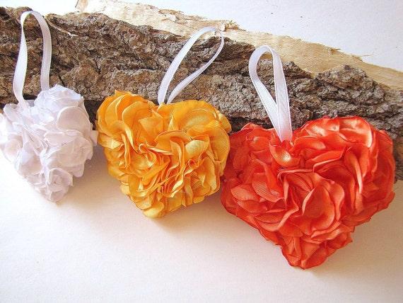 NEW-ручной работы украшения дома / украшения - 3 сердца (бело-желто-оранжевый)