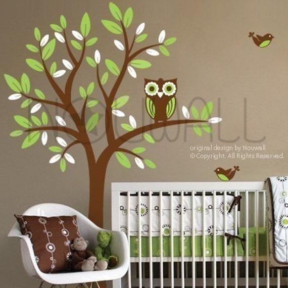 NEW DESIGN - Owl on Tree - 089 - Vinyl Sticker Wall Decal for Girl Boy Nursery