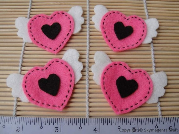 Felt Applique - LOVE WING - 4 PCS - Handmade - Hot Pink