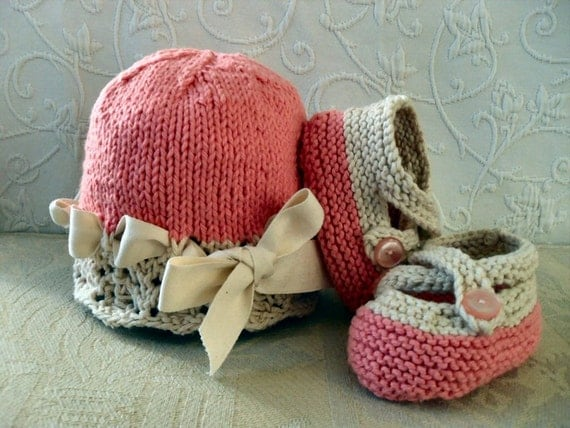 CHOOSE YOUR COLORS -  Cotton Hand Knitted Ivory Lace Cloche with Matching  Cross-strapped Booties