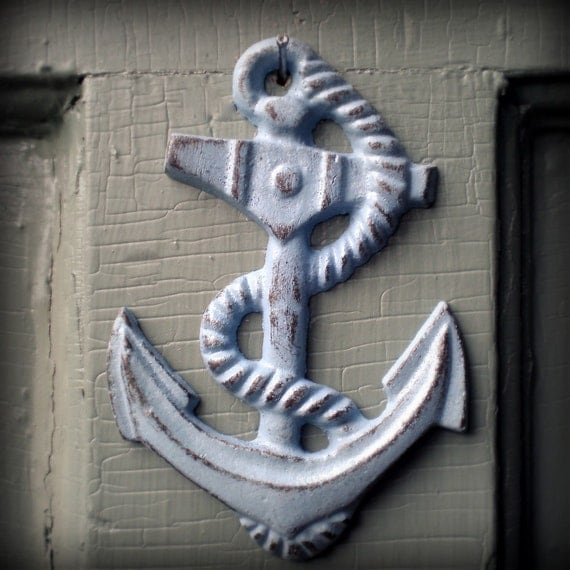 cast iron anchor wall decor, blue Featured on Apartment Therapy
