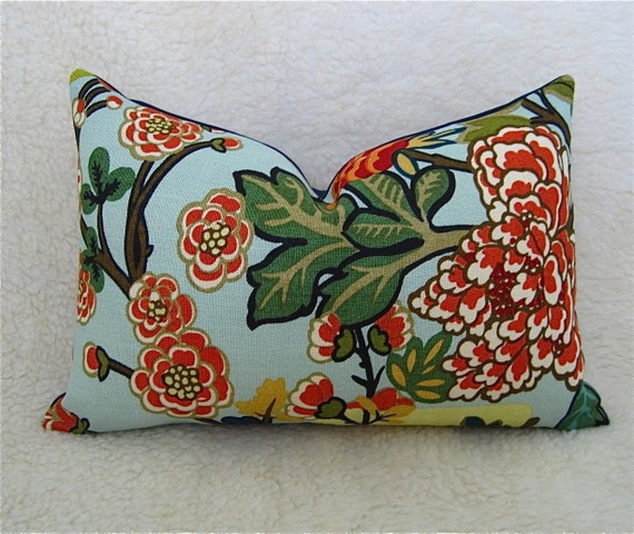 Chiang Mai Dragon / F. Schumacher / 10x14 Accent Pillow / Aquamarine / Zipper Enclosure