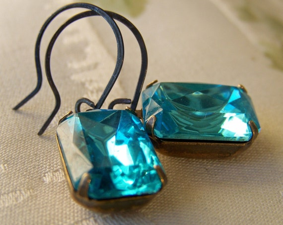 Aqua, Vintage Glass Jewel Drop Earrings