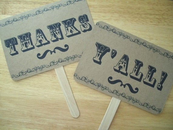 The ORIGINAL NEW- Style A -Just Hitched / Thanks Y'All Double Sided Photo Props on Kraft Paper- Set of 2